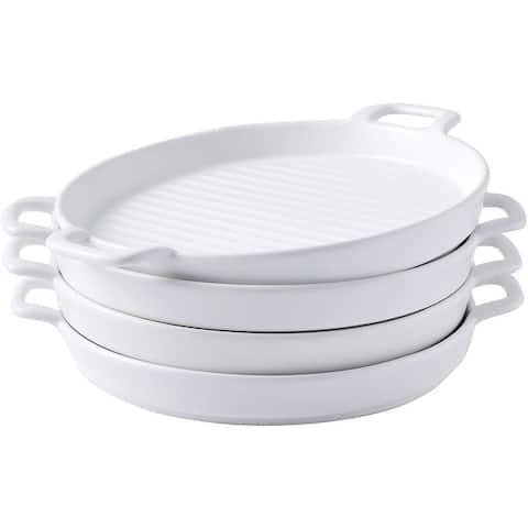 Bruntmor Set Of 4 Ceramic Matte Glaze Round Baking Dish Dinner Plates, Serving Dinner Trays With Skillet handles