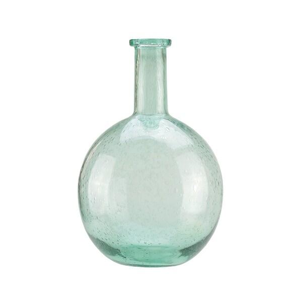 "14"" Marine Inspired Round Light Blue Hand Blown Bubble Glass Vase"