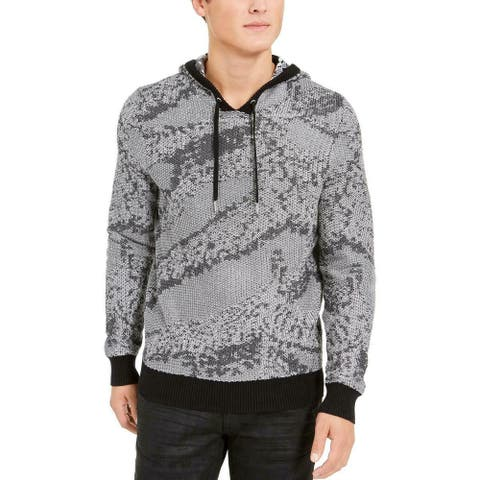 INC International Concepts Men's Jax Hooded Knit Sweater Gray Size Small