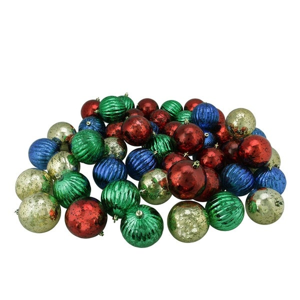 "50ct Shiny Red, Blue, Green and Gold Shatterproof Mercury Ball Christmas Ornaments 3.25"" (80mm) - multi"