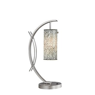 Woodbridge Lighting 13482STN-M10WHT 1 Light Table Lamp from the Eclipse Collection - Grey - n/a