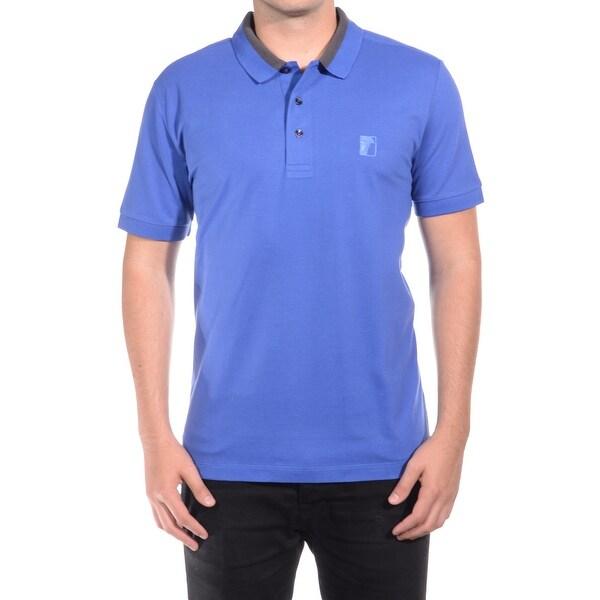 Versace Collection Men Medusa Logo Solid Cotton Colar Trim Polo Shirt Blue