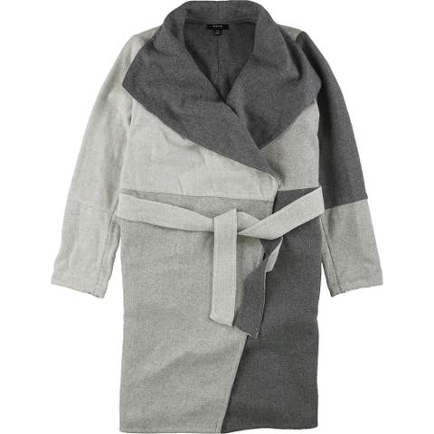 Alfani Womens Colorblocked Belted Jacket, grey, S/M