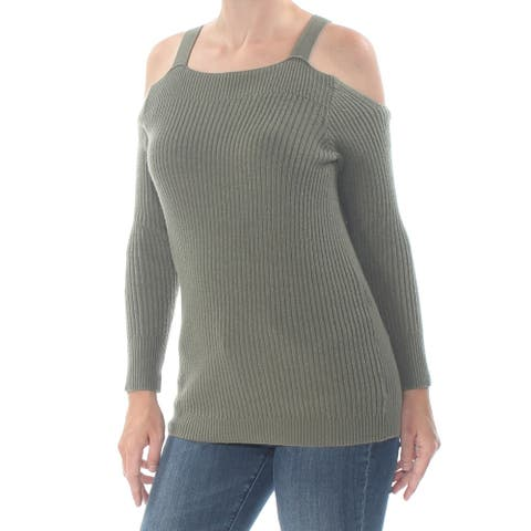 BAR III Womens Green Long Sleeve Square Neck Sweater Size S