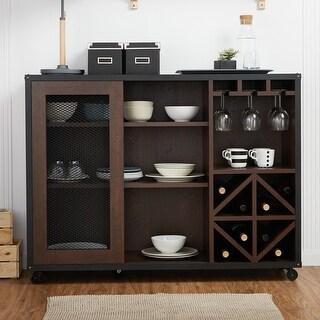 Link to Furniture of America Hury Modern Walnut 47-inch Sliding-door Buffet Similar Items in Dining Room & Bar Furniture