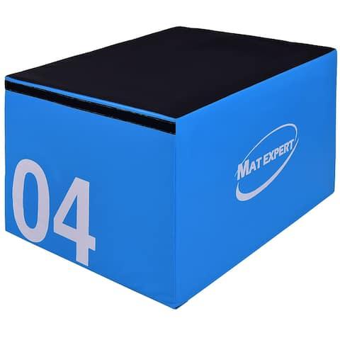 Gymax 24'' PVC Soft Foam Jumping Box Plyometric Exercise Blue