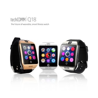 TechComm Q18 Bluetooth and GSM Unlocked Smartwatch with 1.3MP Camera, Sleep Monitor, Pedometer and Sedentary Reminder