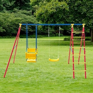 Costway A-Frame Kids Swing Set Fun Play Chair Ladder For 5 Children Backyard Outdoor