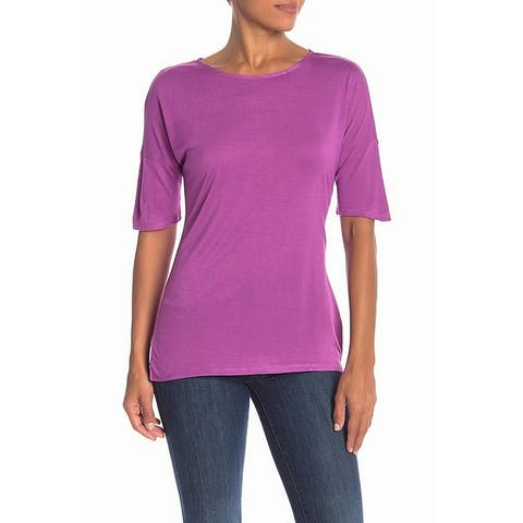 Philosophy Purple Womens Size Small S Solid Crewneck Tee Knit Top