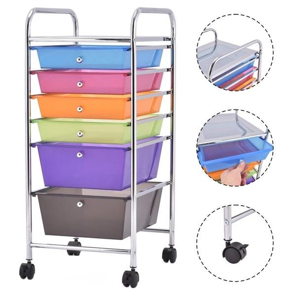 Costway 6 Drawer Rolling Storage Cart Tools Scrapbook Paper Office School Organizer