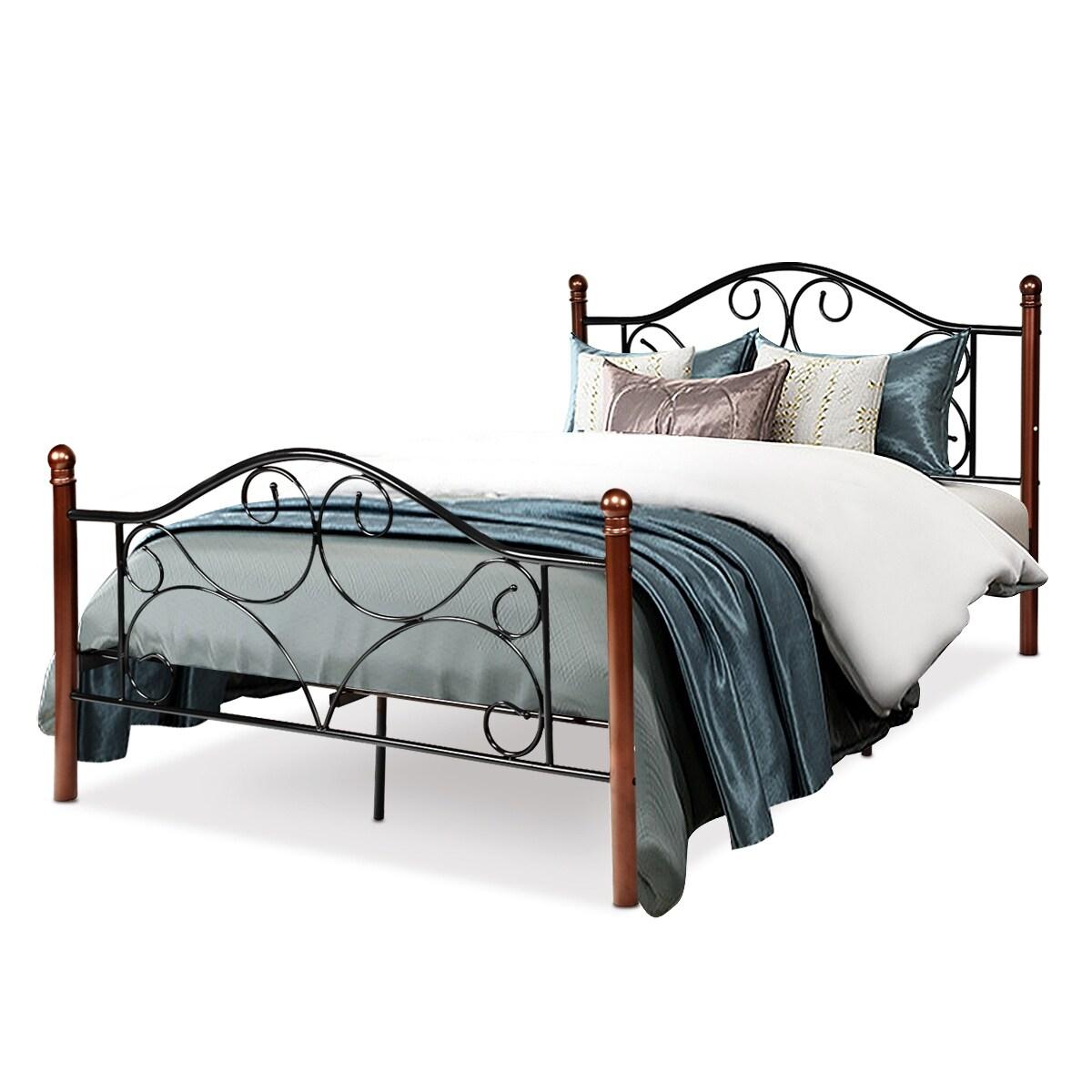 Full Size Steel Bed Frame Platform Stable Metal Slats Headboard Footboard New Home Garden Home Garden Furniture