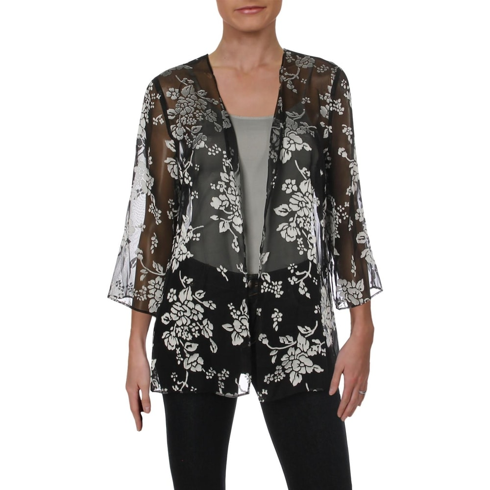NEW LADIES TWIN SET SILVER EMBROIDERY SPARKLY BLACK 2 IN 1 TOP /& JACKET *SALE*
