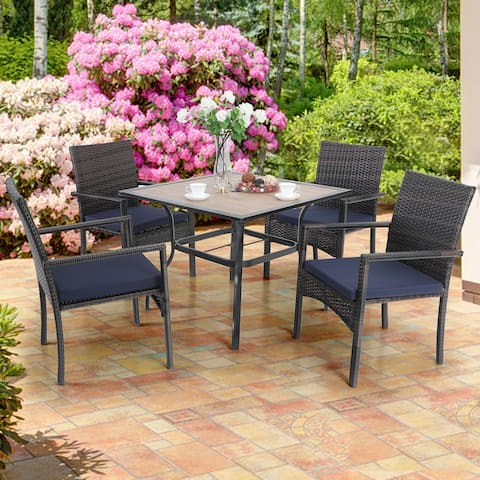 """PHI VILLA 5-Piece Patio Dining Set, 36"""" Square Acacia Wood Table and 4 Rattan Armrest Chairs"""