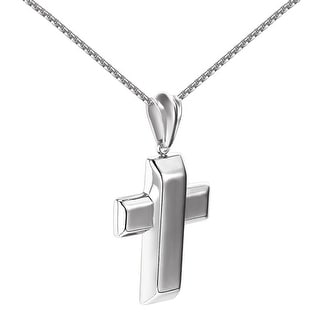 Bar Cross Style Pendant Stainless Steel Box Necklace 24 Inch Hip Hop Brand