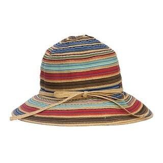 Womens Paper Braid Ribbon Bucket Sun Hat