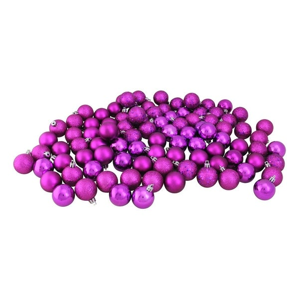 "Set of 96 Magenta Pink Shatterproof 4-Finish Christmas Ball Ornaments 1.5"" (40mm)"