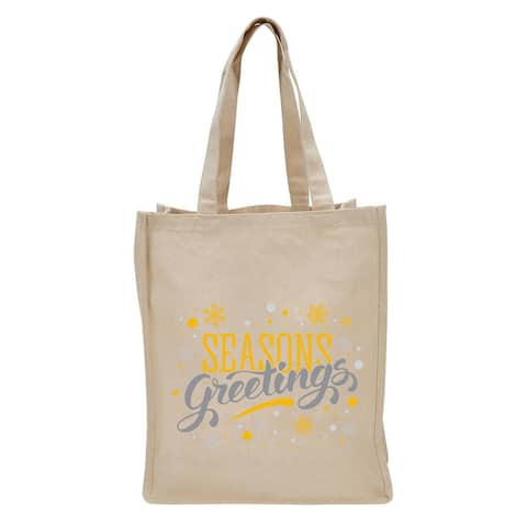 """17"""" Beige Reusable Shopping and Tote Bag with Seasons Greetings Design"""