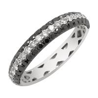 Prism Jewel 0.86Ct Black Color Diamond & Diamond Wedding Band - White G-H