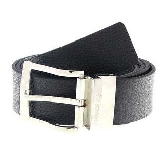 "Versace ED8YSBF03 EMI8 Black Mens Belt Buckle Adjustable-Trim to fit - 28"" to 40"" waist adjustable"