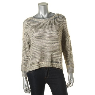 French Connection Womens Open Stitch Metallic Pullover Sweater - S