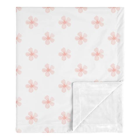Pink Flower Blossom Girl Baby Receiving Security Swaddle Blanket - Shabby Chic Farmhouse Burgundy Watercolor Floral Collection