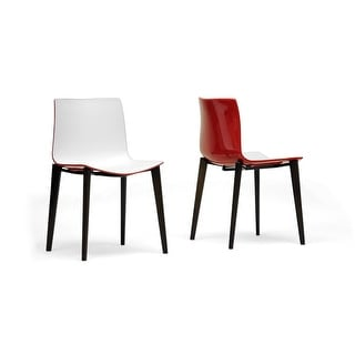 Soren White & Red Modern Dining Chair - 2 Chairs