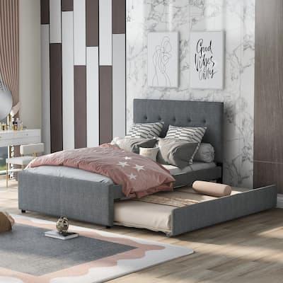 Nestfair Modern Full Size Linen Upholstered Platform Bed With Headboard and Trundle
