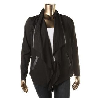 Calvin Klein Womens Ponte Faux Leather Trim Casual Blazer