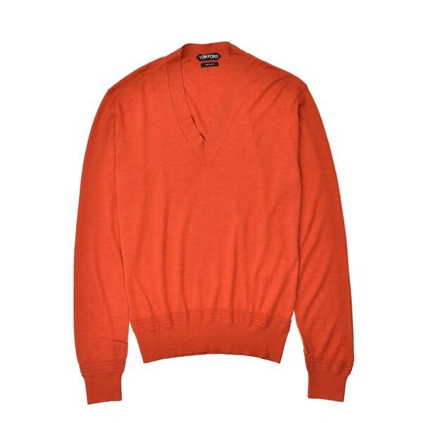 ad2e34afc8bc Shop Tom Ford Mens Cashmere Silk Orange V Neck Sweater - M - Free ...