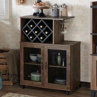 Link to Furniture of America Laut Rustic Oak 4-shelf Mini Bar Similar Items in Home Bars