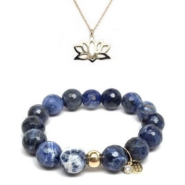 "Blue Sodalite 7"" Bracelet & Lotus Flower Gold Charm Necklace Set"