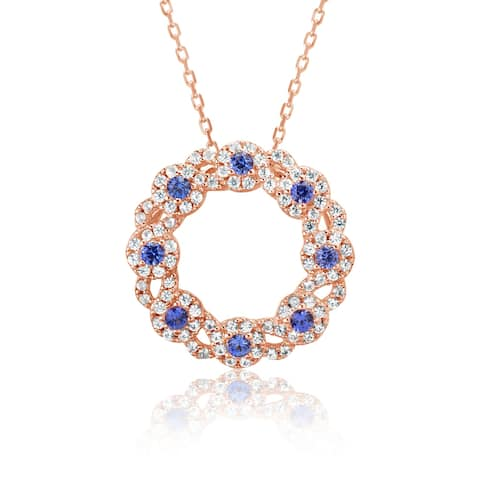 Suzy L. Rose Sterling Silver Sapphire & Diamond Accent Gladiator Circle Necklace