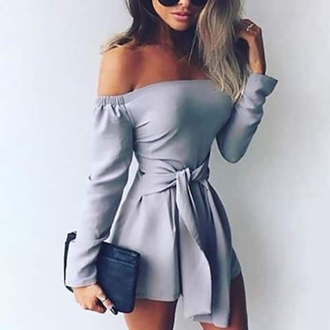 New Women's Stitching Word Shoulder Solid Color Jumpsuit
