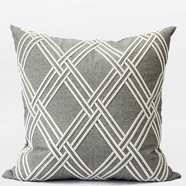 """G Home Collection Luxury Gray Textured Check Embroidered Pillow 20""""X20"""""""