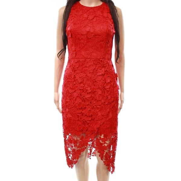 Betsy & Adam Red Women's Size 10 Floral Crochet Sheath Dress