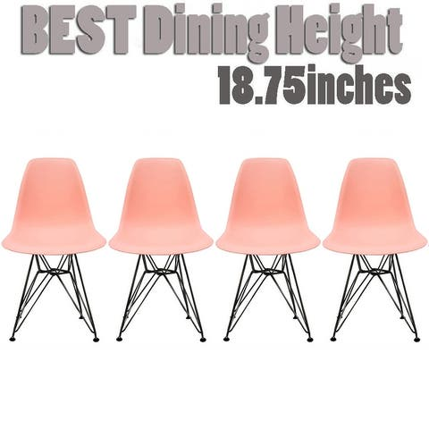 2xhome Set of 4 Modern Color Seat Height DSW Molded Armless Plastic Dining Room Chairs Black Wire Eiffel Dowel Legs
