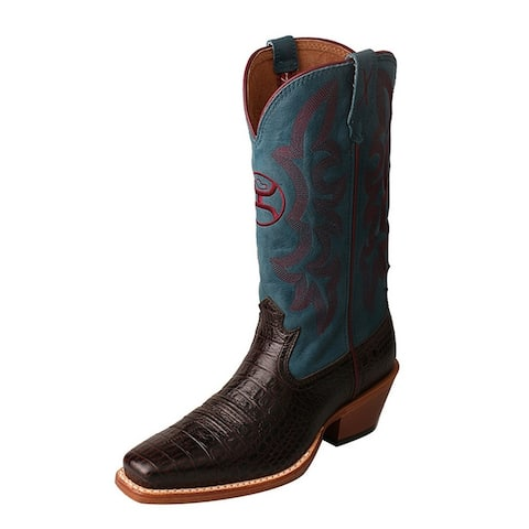HOOey Western Boots Womens Walking Gold Buckle Coffee Blue