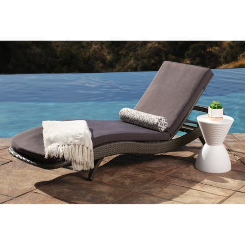 Abbyson Outdoor Marcelle Adjustable Wicker Chaise Lounge with Cushion