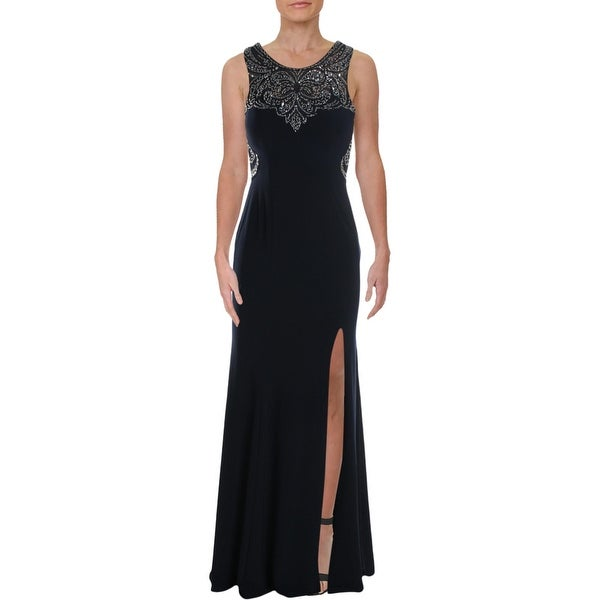 Betsy & Adam Womens Evening Dress Beaded Illusion - Navy/Silver
