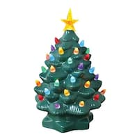 "Nostalgic Ceramic Christmas Tree - LED Lighted Mini Tree 10"" Tall"