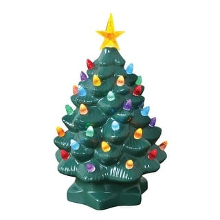 nostalgic ceramic christmas tree led lighted mini tree 10 tall 8 in