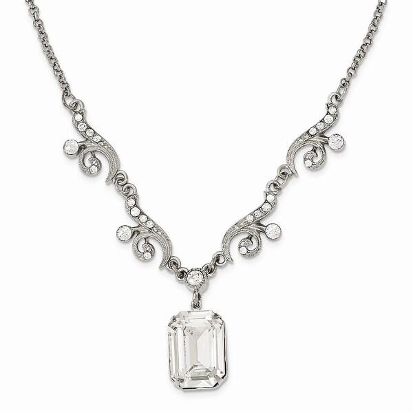 Silvertone Swarovski Elements & Crystal Dangle Necklace - 16in