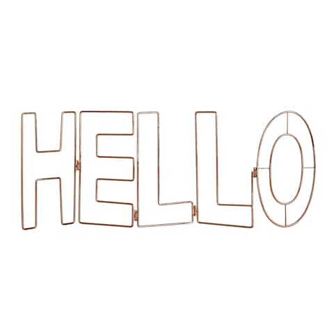 """Graham and Brown 104029 Rose Gold Hello 12"""" x 32"""" Typography Wall Art"""