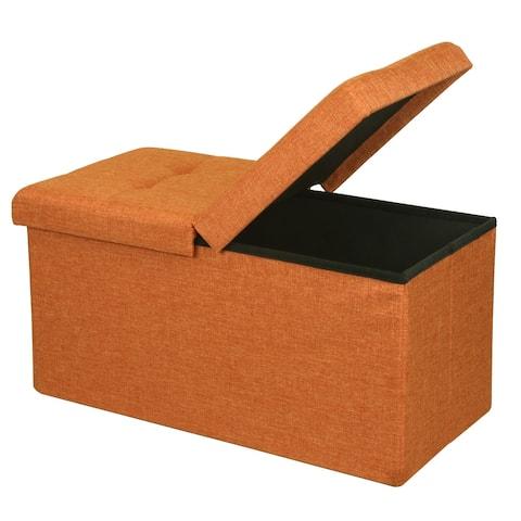 Amber Orange Storage Ottoman Bench by Crown Comfort