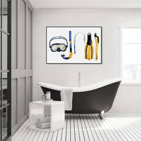Oliver Gal 'Scuba Equipment' Nautical and Coastal Wall Art Framed Canvas Print Nautical Sports - White, Yellow