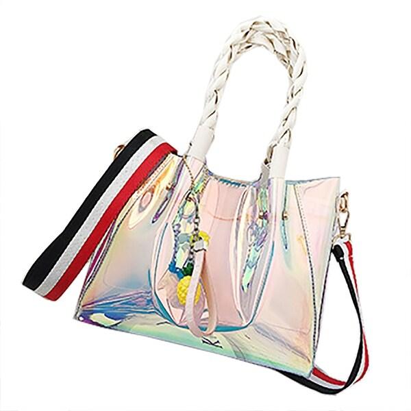 7fa7494bb789 QZUnique Women  x27 s Summer Bucket Laser Transparent Woven Top-handle Tote  Bag