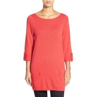 Caslon NEW Red Women's Size Medium M Scoop Neck Roll-Tab Tunic Sweater