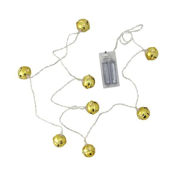 8ct LED Gold Jingle Bell with Star Cut-Outs Battery Operated Christmas Lights - Clear Wire