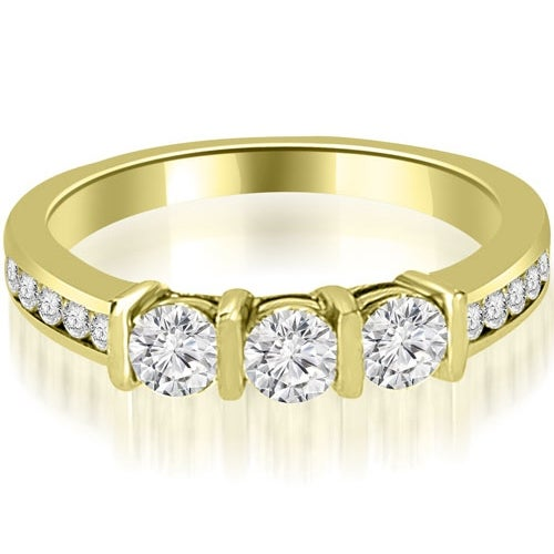 0.80 cttw. 14K Yellow Gold Bar Set Round Cut Diamond Wedding Band