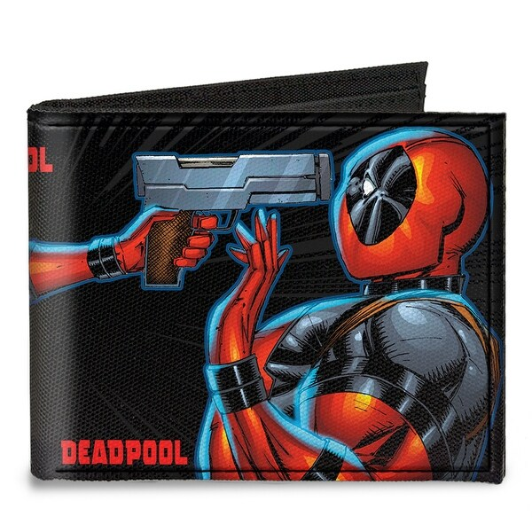Lady Deadpool + Deadpool Face Off Black Gray Red Canvas Bi Fold Wallet One Size - One Size Fits most